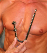 Double bump anal hook for sexual pleasure, male chastity training, vaginal and anal use.